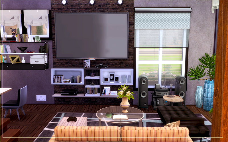 Contemporary desert house sims 4 houses for Modern living room sims 4