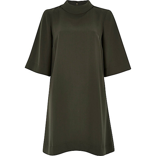 khaki high neck dress, khaki swing dress, river island green dress,