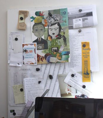 magnetic bulletin board covered with papers