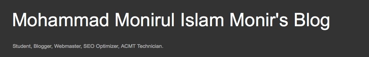 Mohammad Monirul Islam Monir's Blog