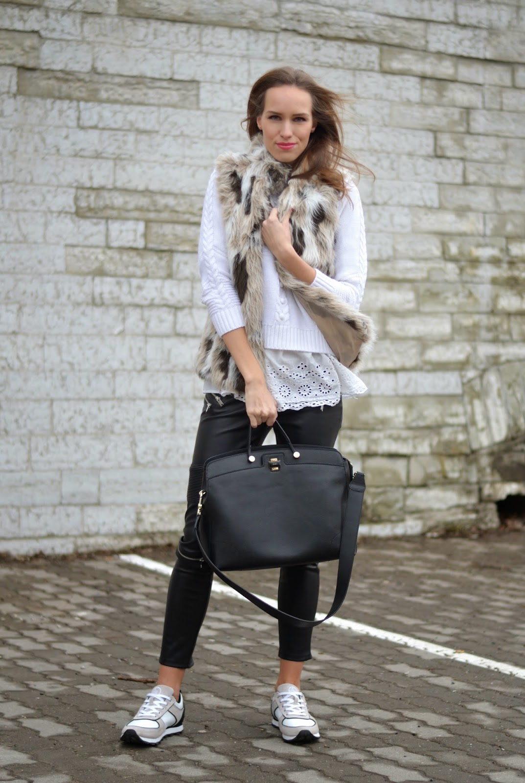 black-white-outfit-zara-fur-vest-leather-pants-furla-bag kristjaana mere