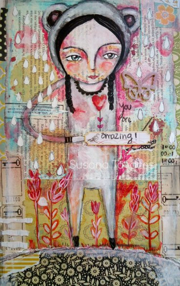 Susana Tavares - You are amazing - art mixed media Print