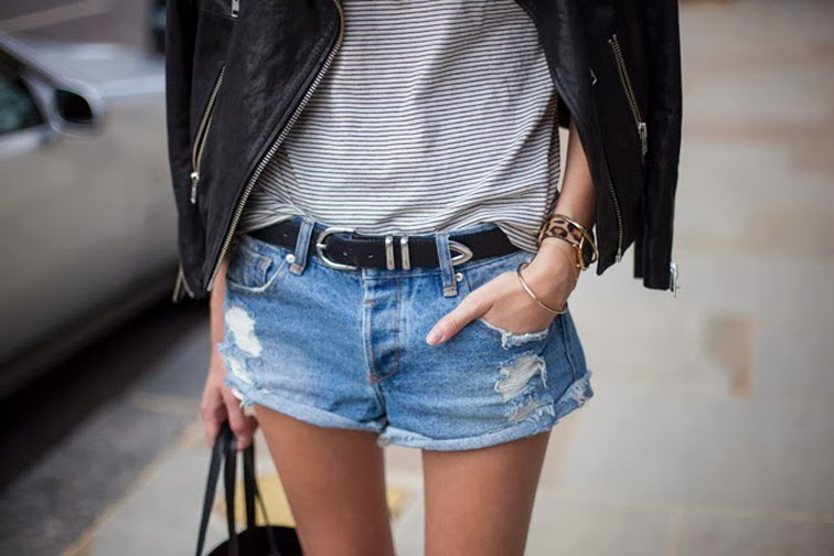 Cutoffs stripes leather