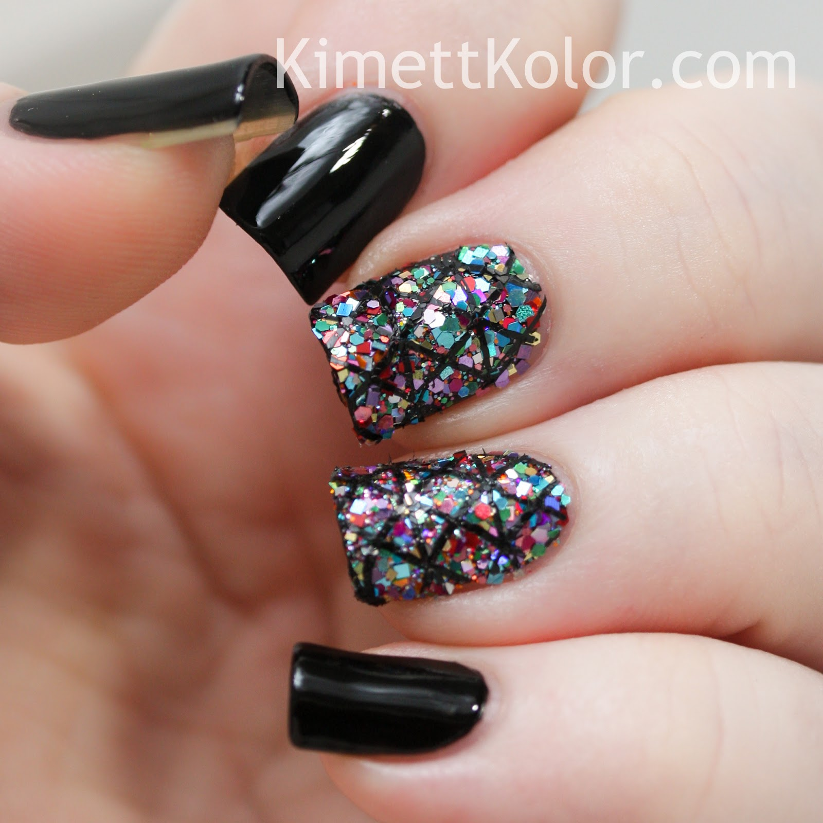 Glitter Covered Nailswith Stamping Kimett Kolor