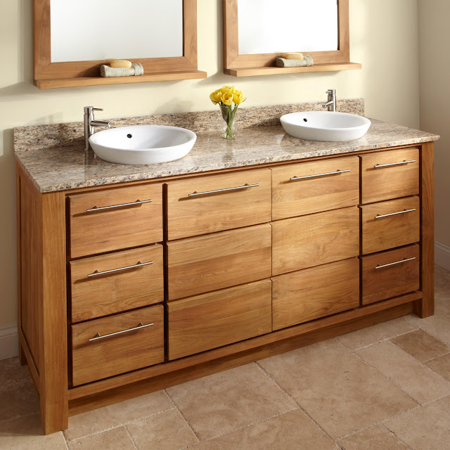 light wood teak bathroom vanity with granite countertops and double wall mounted mirrors