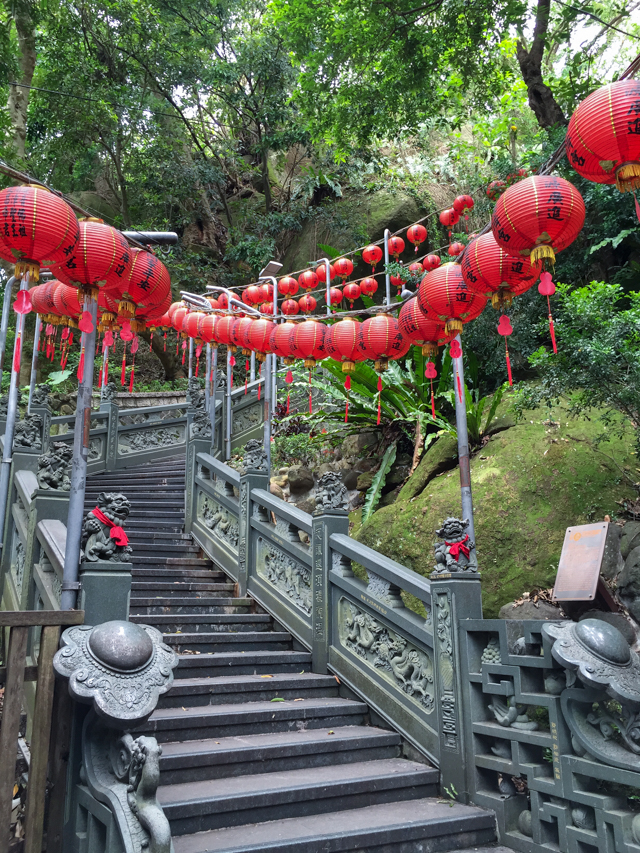 red lanterns and stairway leading to Huiji Temple, Zhishan Taipei