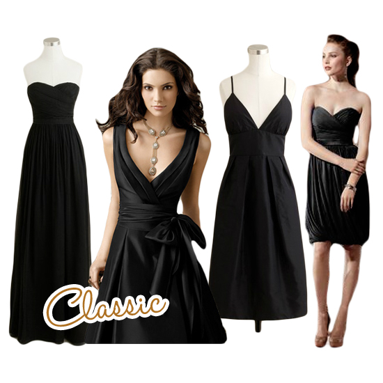 Classic Black Bridesmaids Dresses