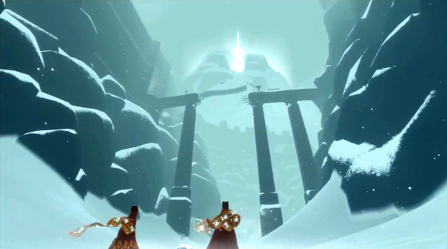 Journey game screenshot co-op in the snow