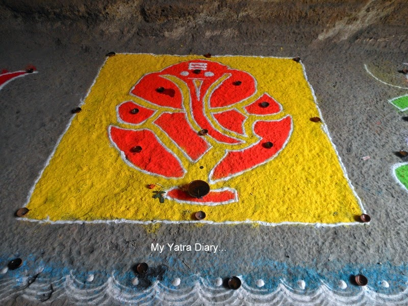 Rangoli of Lord Ganesha at the Jogeshwar Mahadeo temple during Shravan, Mumbai