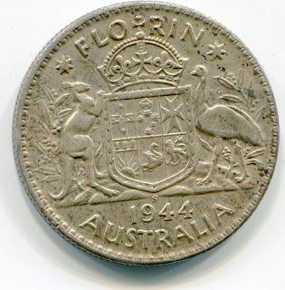 Australia Florin 1944-S lotjun4510