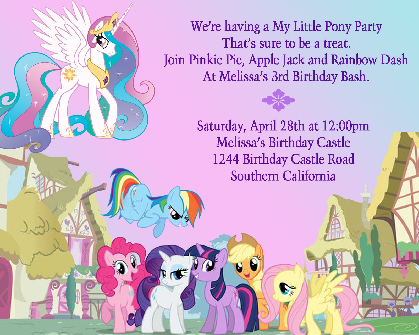 Birthday Party Ideas My Little Pony Birthday Party Invitation Ideas