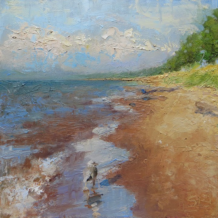 Beach and gull painting oil on panel Shannon Reynolds landscape art