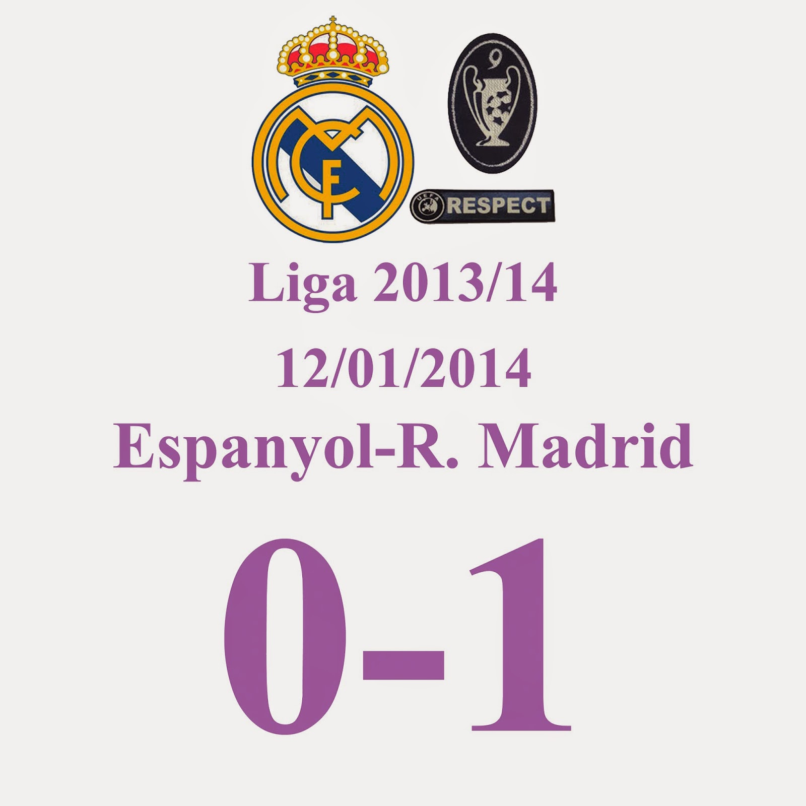 Espanyol 0 - 1 Real Madrid - (Jornada 19) 12/01/2014 - Suma y sigue. Gol de Pepe