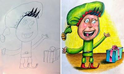 dibujos de niños coloreados por papá