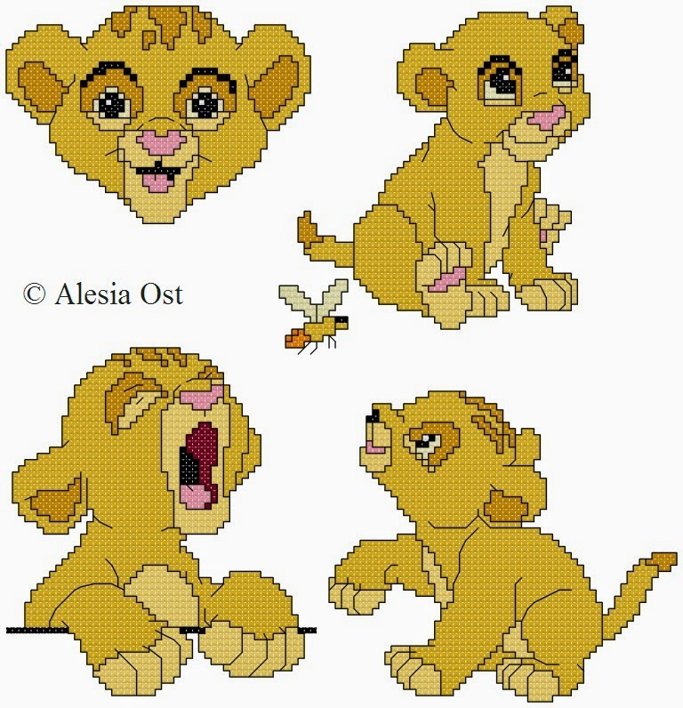 Free cross-stitch patterns, Baby Simba,  Simba, The Lion King, lion, animal, Disney, cartoon, cross-stitch, back stitch, cross-stitch scheme, free pattern, x-stitchmagic.blogspot.it, вышивка крестиком, бесплатная схема, punto croce, schemi punto croce gratis, DMC, blocks, symbols