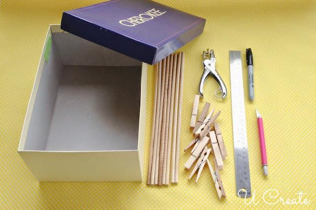 Mesa de Pebolim feita com caixa de sapatos - materiais