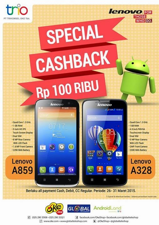 Cashback Rp 100 Ribu Untuk Pembelian Lenovo A328 dan A859