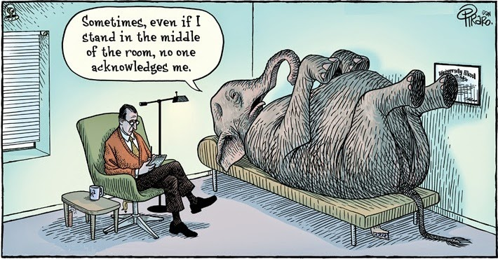 Dan Piraro - Bizarro: elephant in the room.