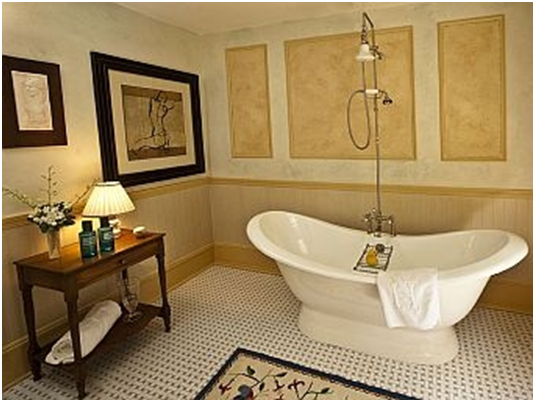 new england living showhouse features pedestal tub from in the teddy roosevelt bathroom these luxuriously designed rooms at the juniper hill - Vintage Tub