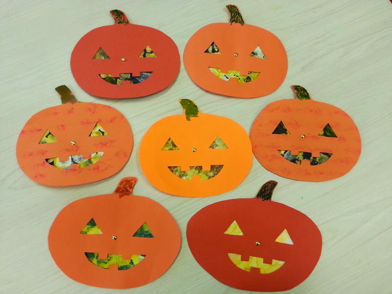 halloween crafts for kids, jack o lantern crafts for kids, crafts using brads