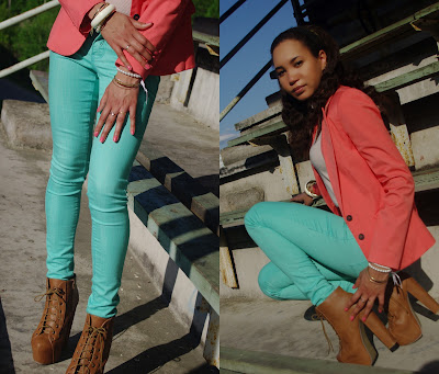 Pairing aqua jeans or pairing a coral blazer