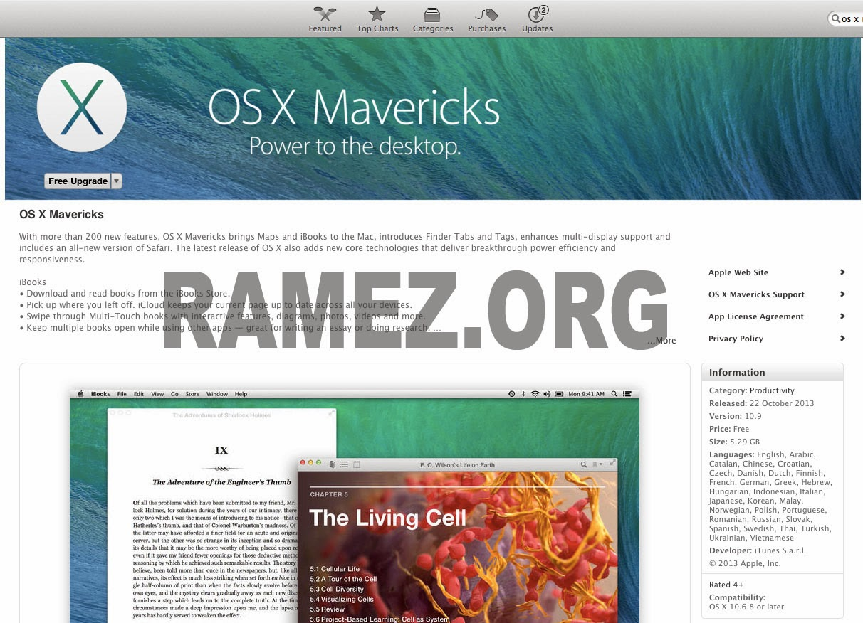 Cara Install Upgrade OS X Mavericks 10.9 Gratis Dari Apple