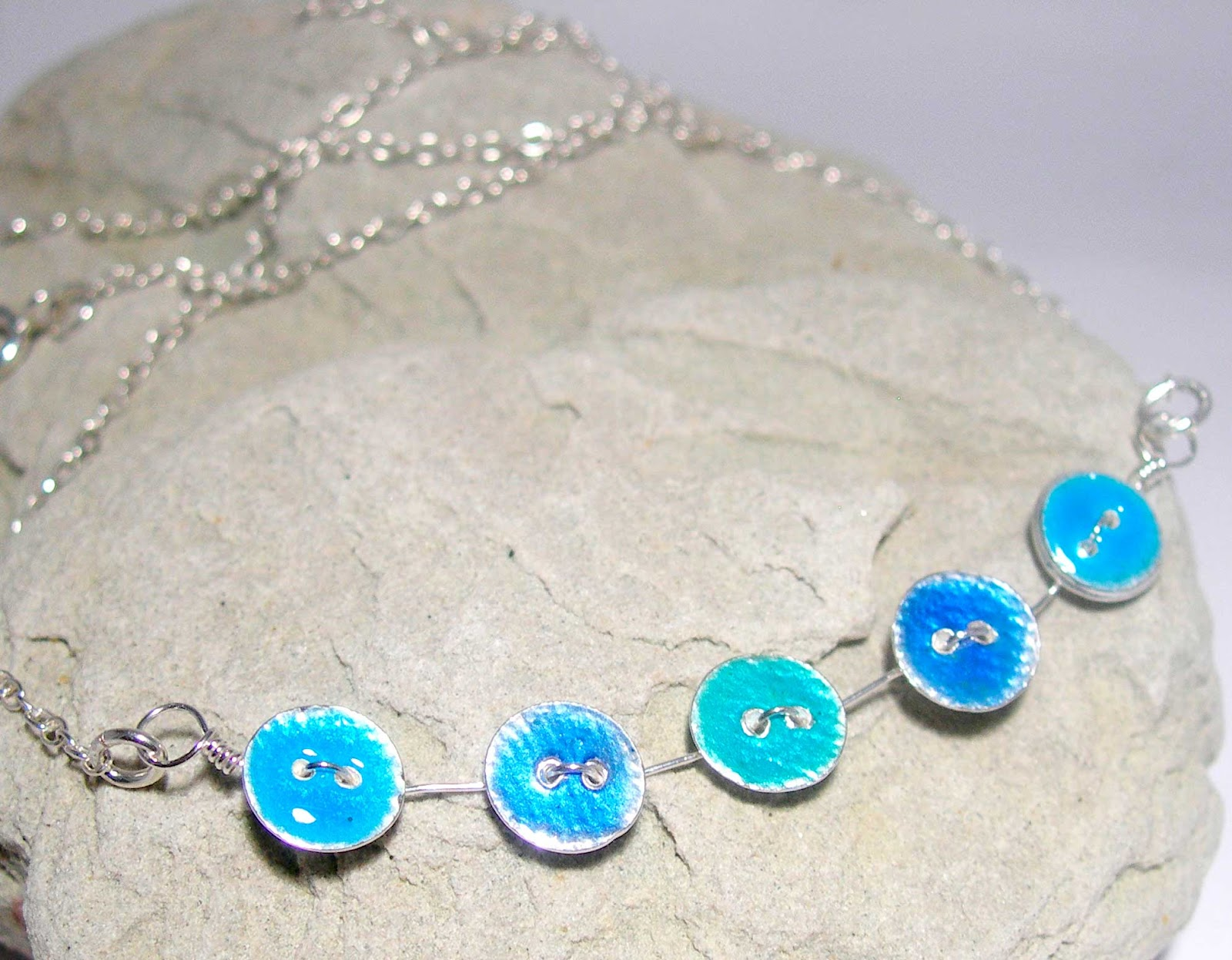 Hues of Blue Enamelled Silver Button Necklace