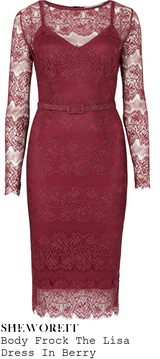 denise-van-outen-purple-floral-lace-long-sleeve-dress