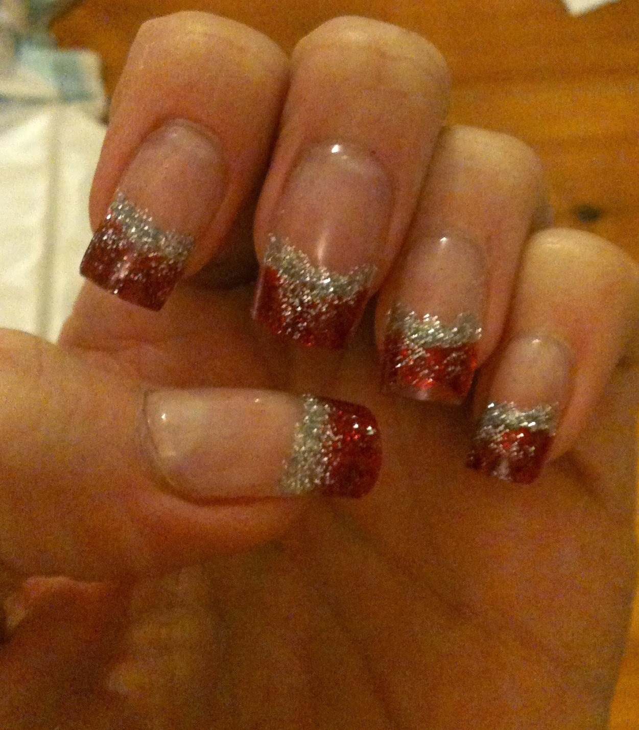 Sharons Nail Art Red And Silver Glitter Tips Using Gel And Dual Forms