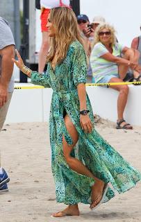 Jennifer Lopez on a sandy beach