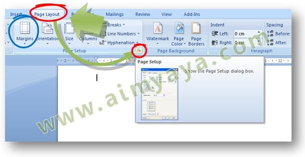 Gambar: tombol untuk menampilkan dialog Page Setup di Microsoft Word 2007