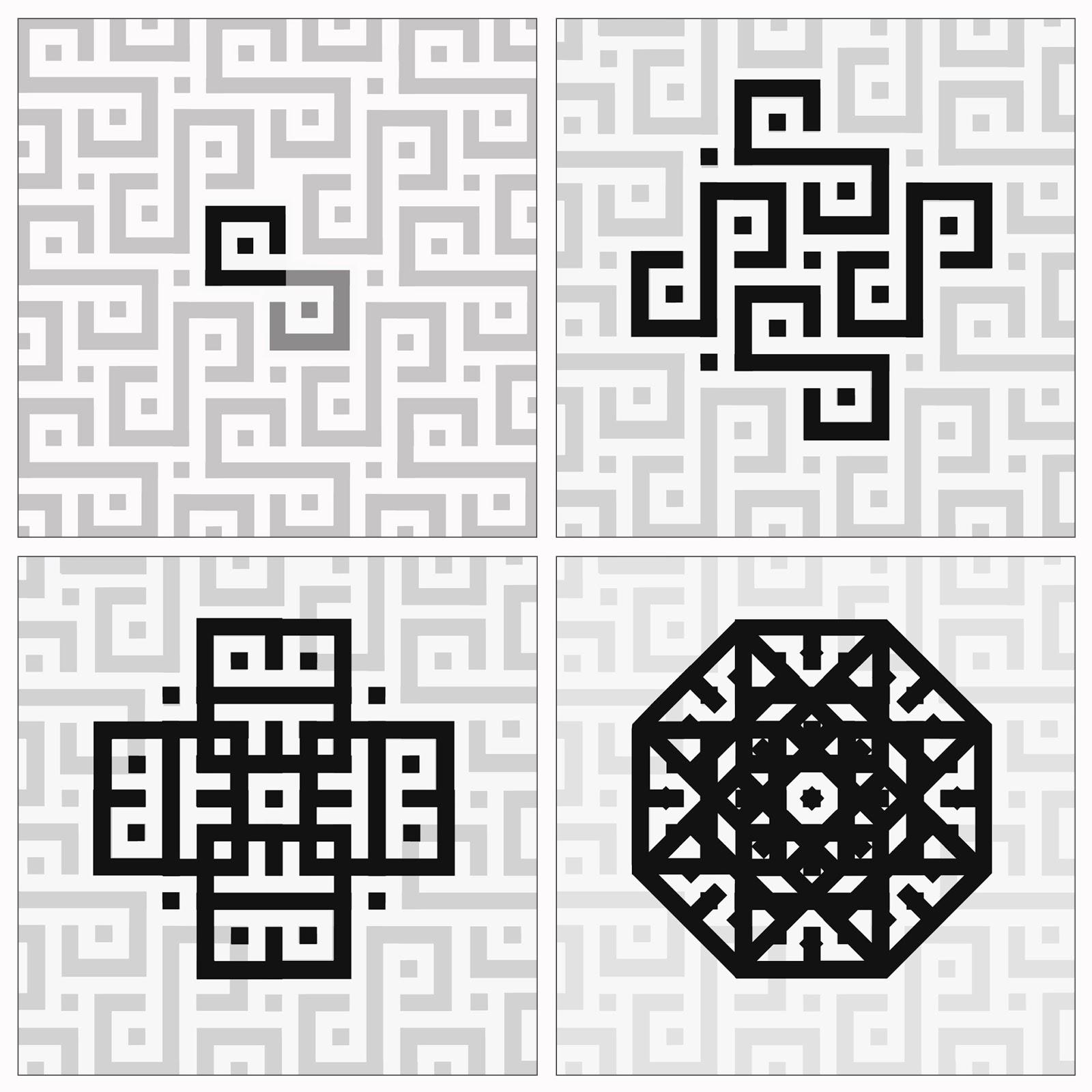 textiles Kuba, geometria traslacional,