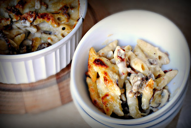 Baked Penne with Italian Sausage and Sun-Dried Tomatoes l SimplyScratch.com
