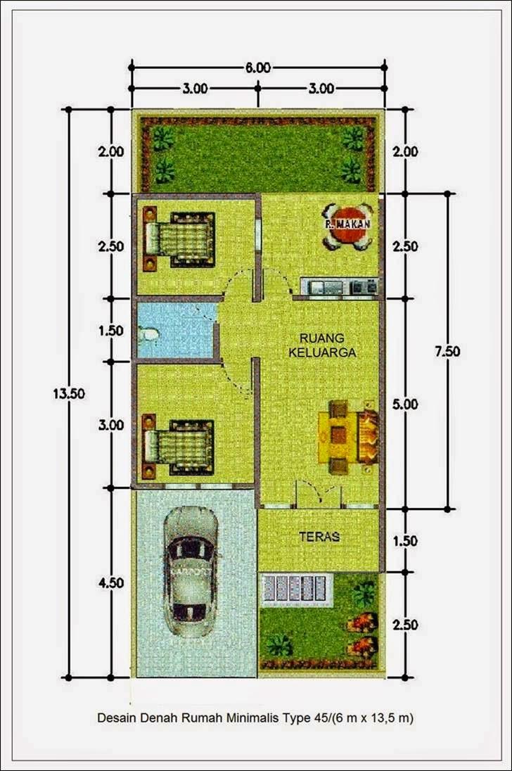 Contoh Desain Denah Rumah Minimalis Tipe 45 Terbaru