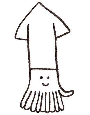 イカのイラスト(魚) モノクロ線画