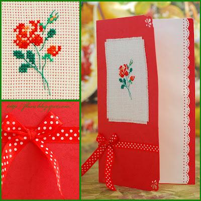 Mango - Une Anee a Broder, открытка с вышивкой, вышивка роза, открытка с розой, вышивка Mango - Une Anee a Broder