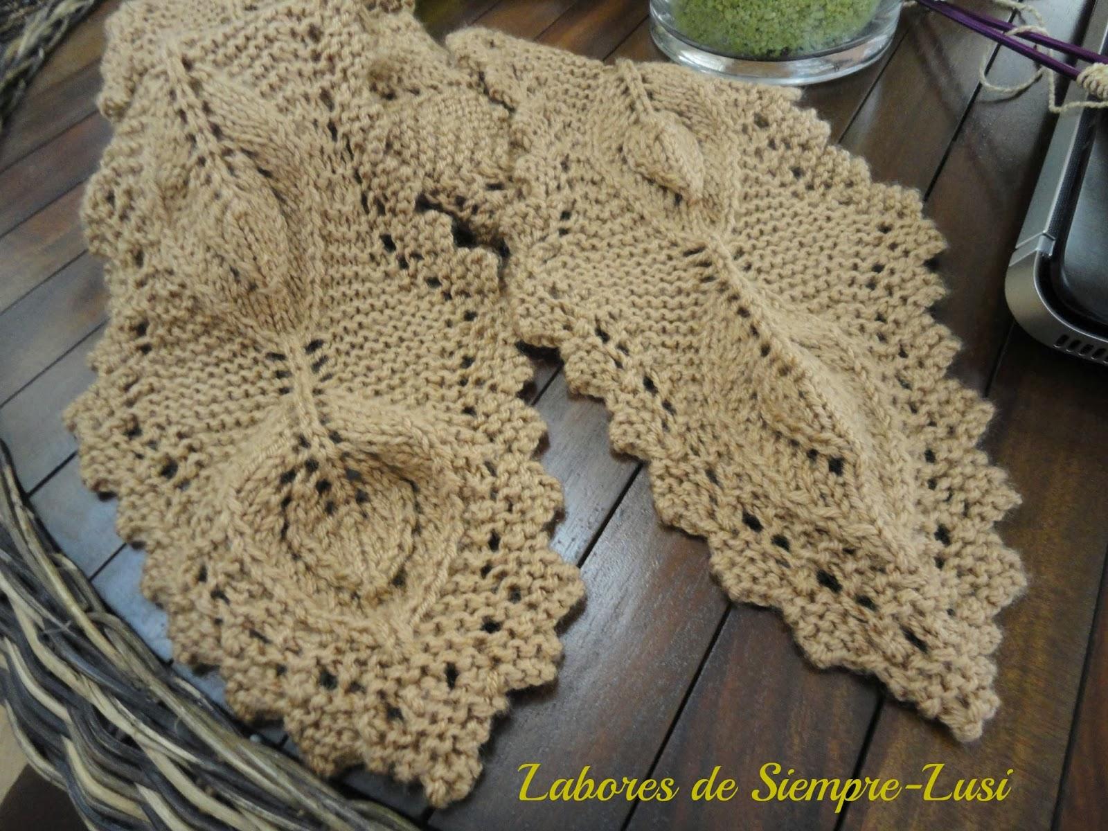 Labores de siempre bufandas de hojas - Labores punto dos agujas ...