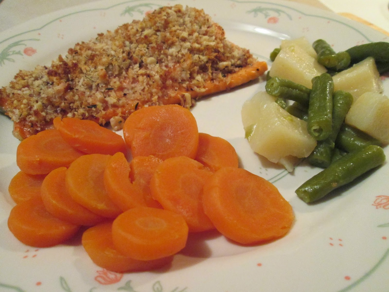 walnut-crusted salmon w/ baked potato and green beans & potatoes
