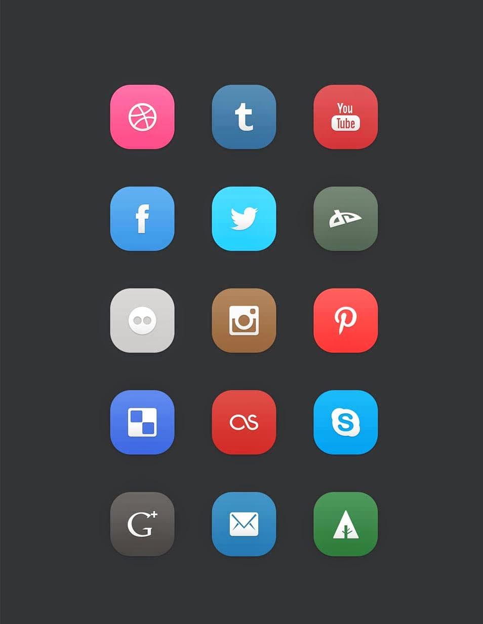 15 Flat Social Media Icons