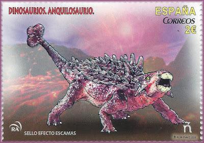 Ankylosaurio, dinosaurio, sello, filatelia
