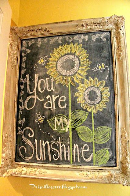 sunflower chalkboard wall art