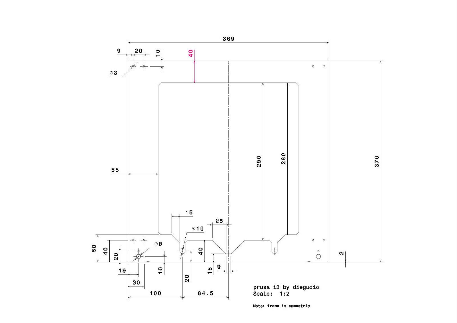 Ponete las piletas: Dimensiones y modelo CATIA del marco de la prusa i3