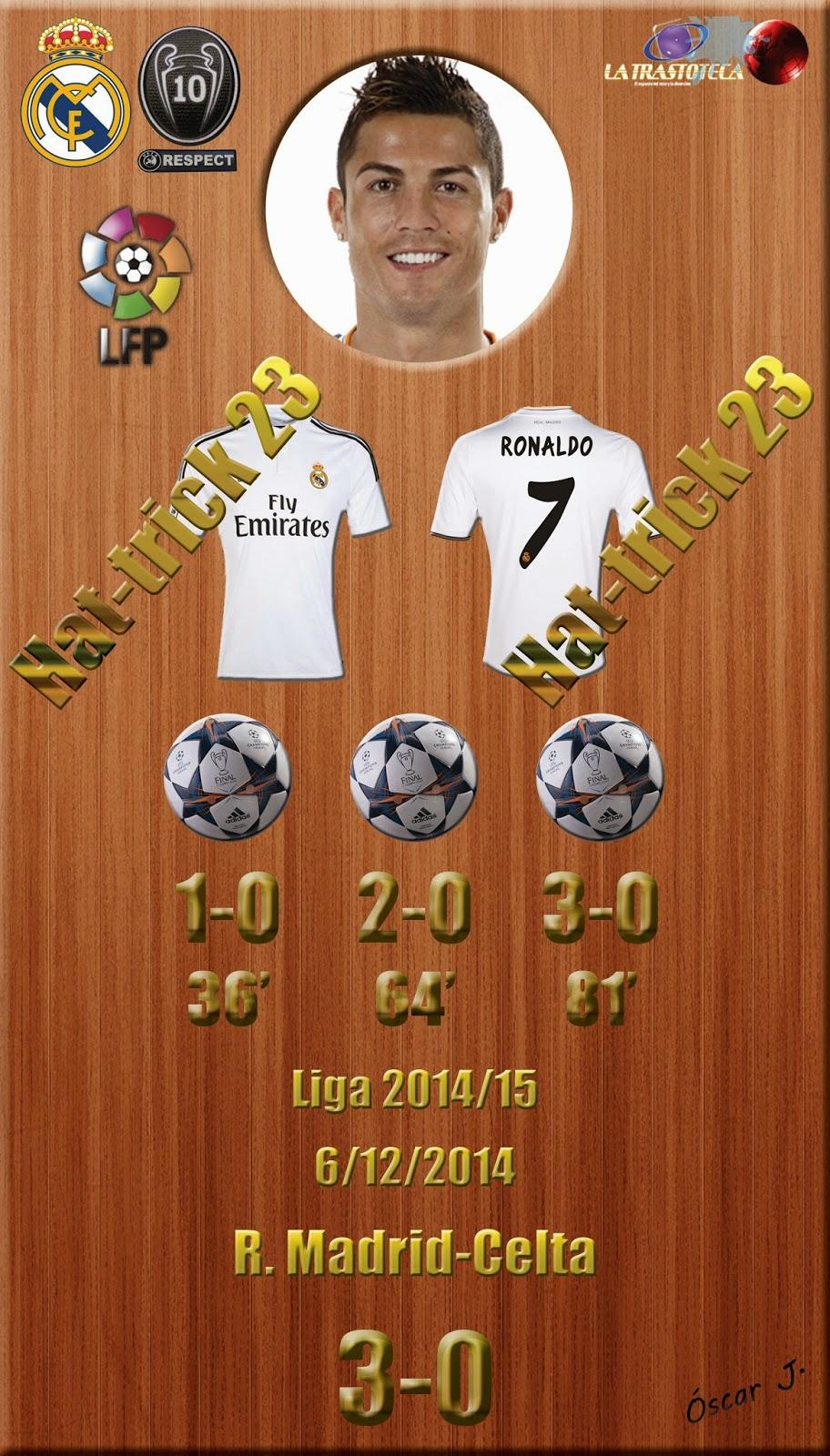 Real Madrid 3-0 Celta - Liga 2014/15 - Jornada 14 - (6/12/2014). Cristiano Ronaldo - Hat-Trick Nº 23 - Cristiano Ronaldo supera el récord de Di Stéfano y Zarra.