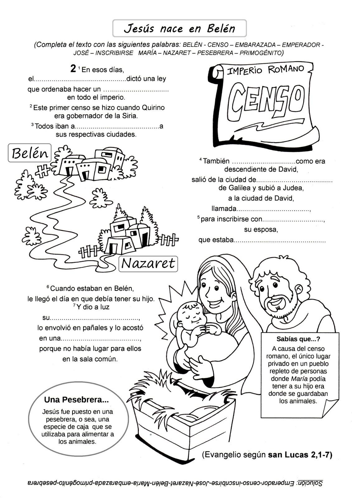 PARA COLOREAR: Infancia de Jesús para colorear