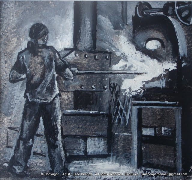 painting by industrial heritage artist Jane Bennett 'Blacksmith forging '    WINNER  Miniature Painting  Prize 2011 Royal Easter Show