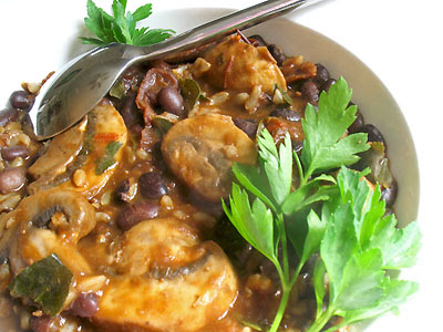 Black Bean Chili with Mushrooms and Toasted Spices