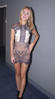 Kimberley Garner sexy legs in lace dress at the Eating Happiness VIP Screening in London red carpet dress