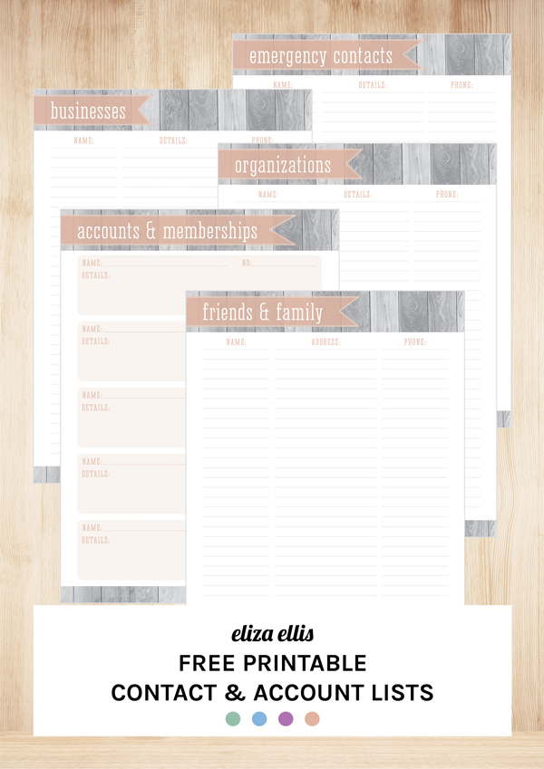 free printable contact pages address book by eliza ellis - Free Printable Address Book Sheets