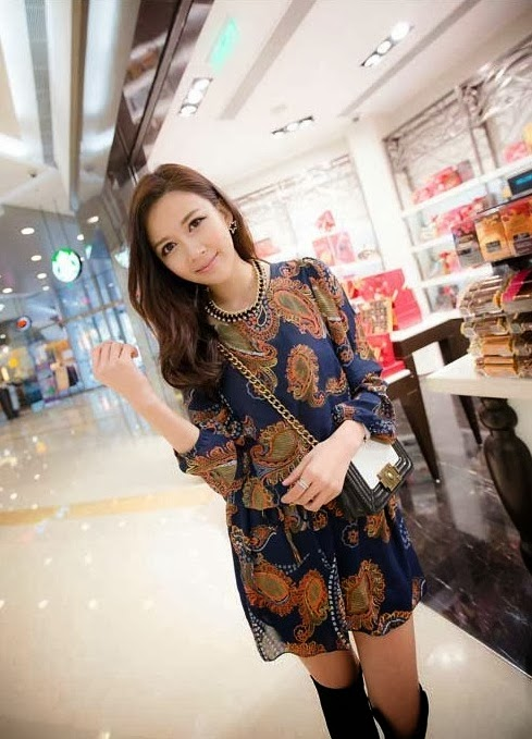 Baju: Dress Batif Chiffon Biru