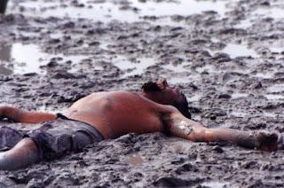 man exausted mud
